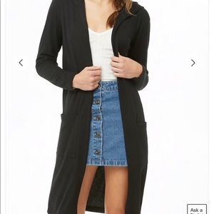 Forever 21 long hooded cardigan